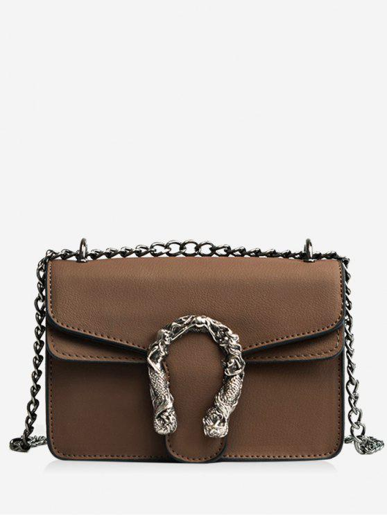 outfits Metal Embellished Chain Flap Crossbody Bag - BROWN