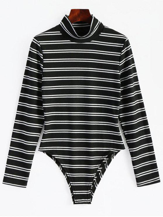 2019 High Neck Striped Long Sleeve Bodysuit In BLACK L  a9cd2f8ed258