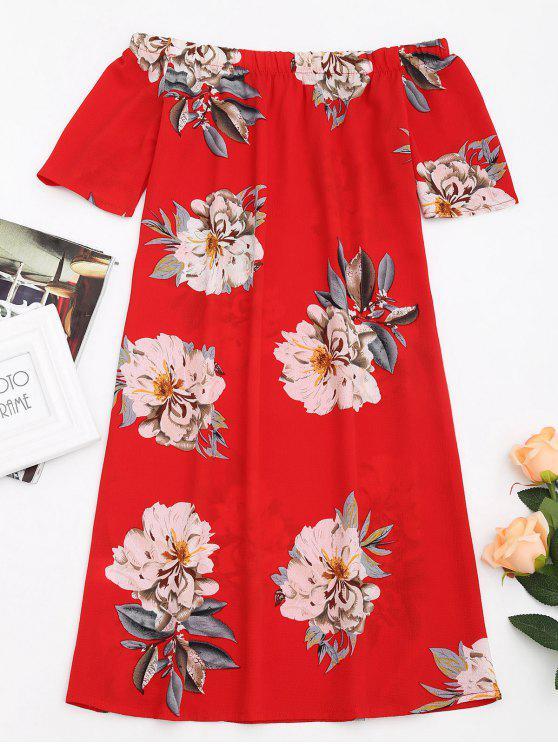 فستان مستقيم طباعة الأزهار بلا اكتاف - أحمر XL