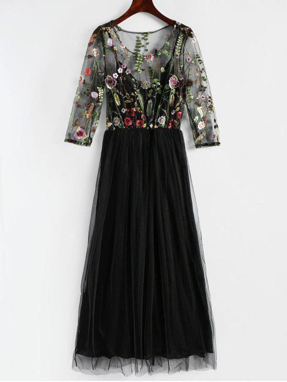 Floral embroidered mesh overlay dress black casual