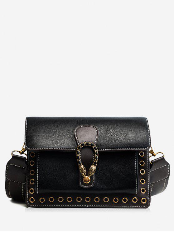 Eyelets Faux Leather Crossbody Bag - Preto