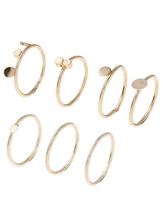 lady Simple Circle Disc Finger Ring Set - GOLDEN ONE-SIZE