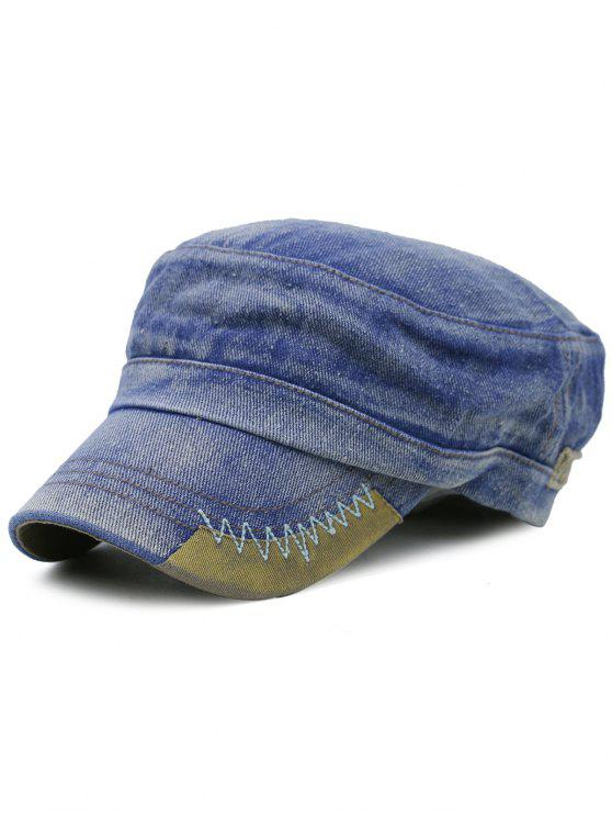 Cappellino Militare In Denim Ricamato A Righe Semplice - Blu Denim