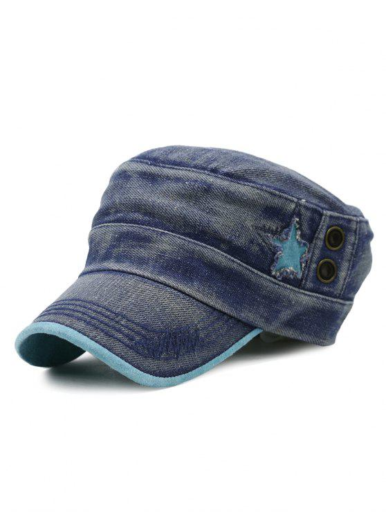 women Simple Star Pattern Decorated Washed Military Hat - BLUE