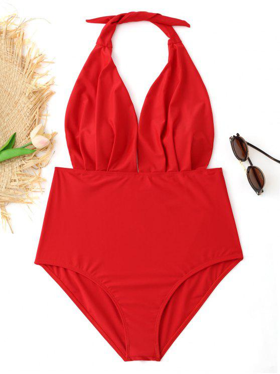 affordable Pleated Halter Plus Size Swimsuit - RED 4XL