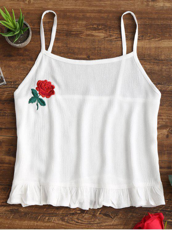 توب كامي مقصر كشكش مرقع بالأزهار - أبيض XL