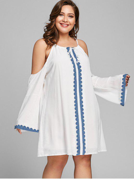 fancy Cold Shoulder Plus Size Shift Dress - WHITE XL