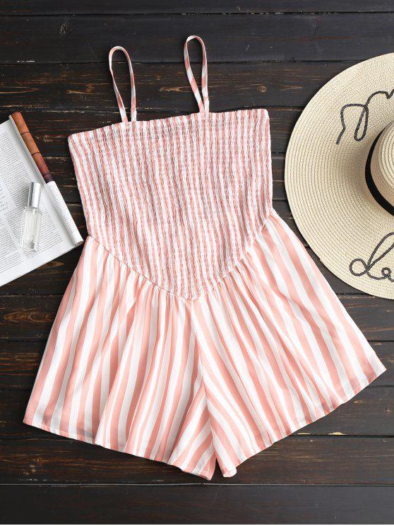 chic Wide Leg Smocked Stripes Romper - STRIPE M