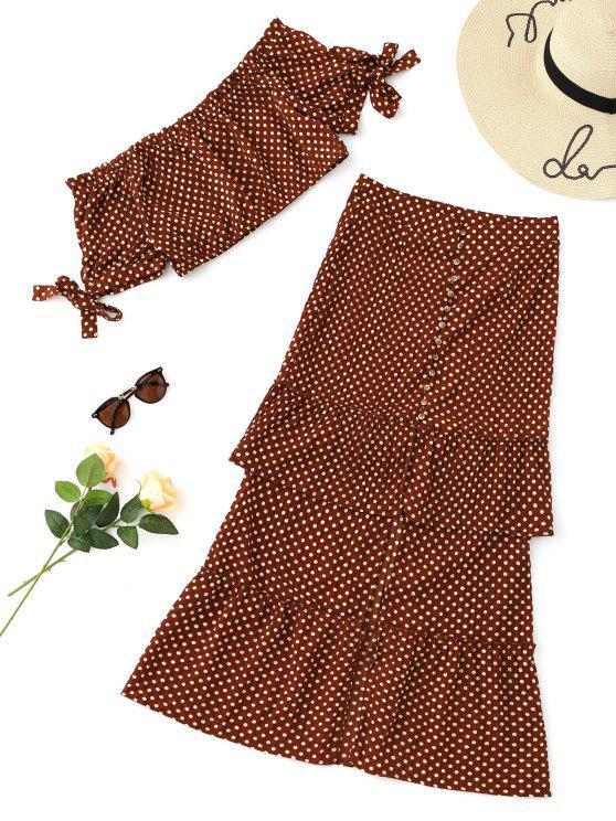 Conjunto de falda con hombros descubiertos y falda con volante - Café L
