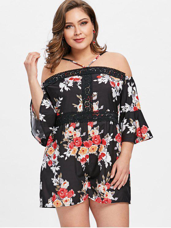 Cami Floral Plus Size Romper - Noir 2XL