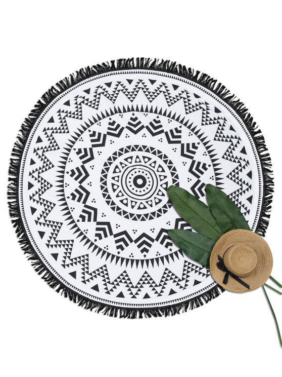 Couverture géométrique ronde de plage de frange d'impression - Blanc et Noir TAILLE MOYENNE