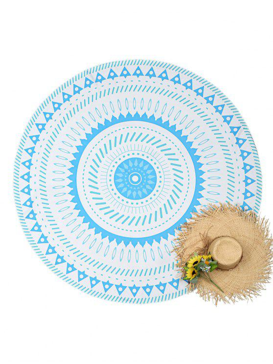 Geometrical Print Round Beach Throw - Blanco Talla única