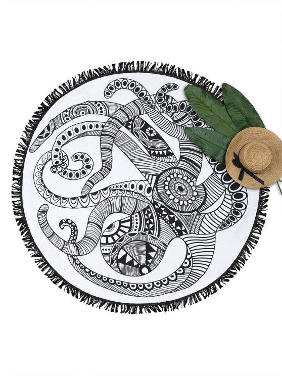 Octopus Print Fringe Round Beach Throw - Blanco y Negro Única Talla