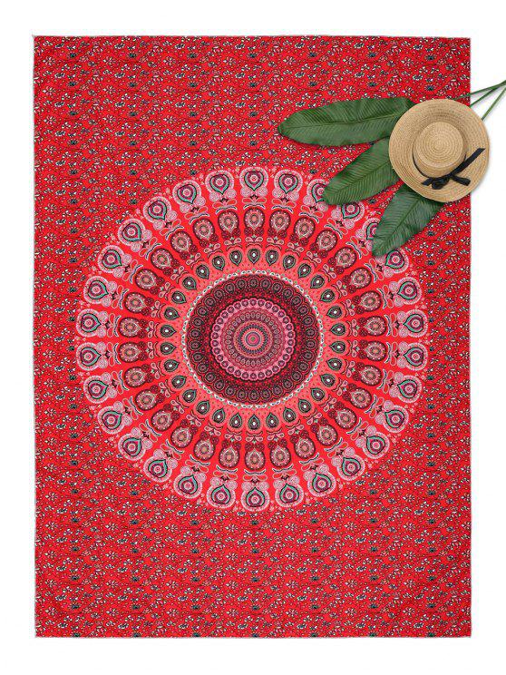 Serviette de Plage Rectangle à Imprimé Mandala Motif Floral - Rouge Taille Unique