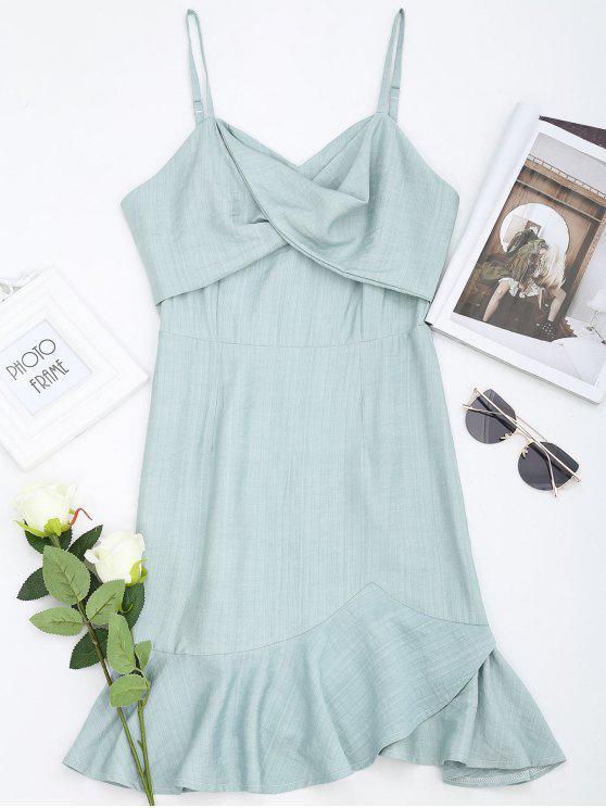 5e6bf06e63be 30% OFF] 2019 Ruffle Twist Slip Mini Dress In LIGHT GREEN | ZAFUL