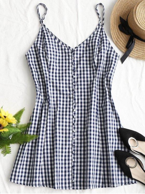 womens Button Up Plaid Mini Dress - PURPLISH BLUE XL