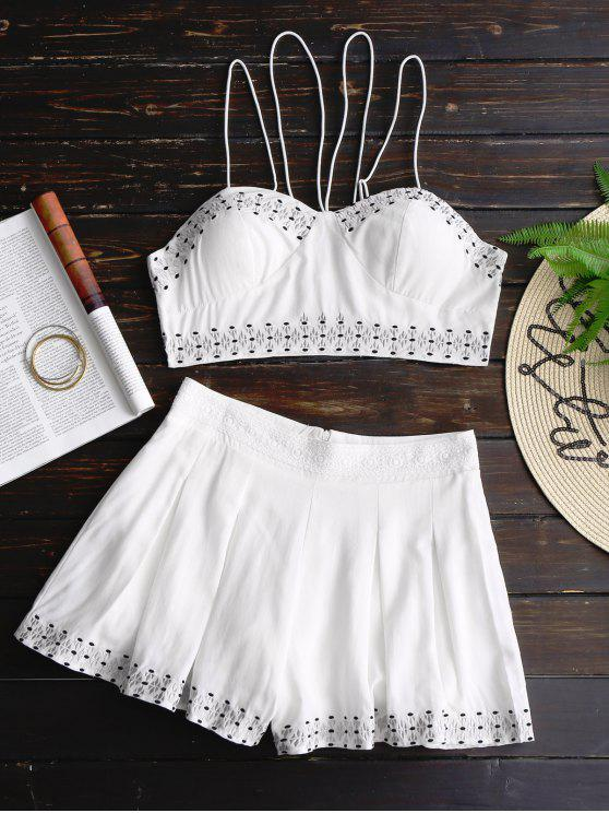 trendy Bralette Lace Up Top and Embroidered Shorts Set - WHITE L