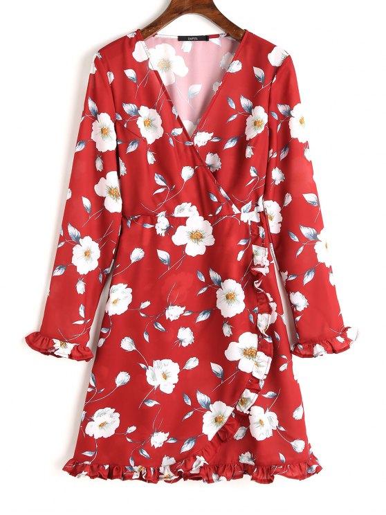 فستان طويلة الأكمام كشكش طباعة الأزهار متدرج - أحمر M