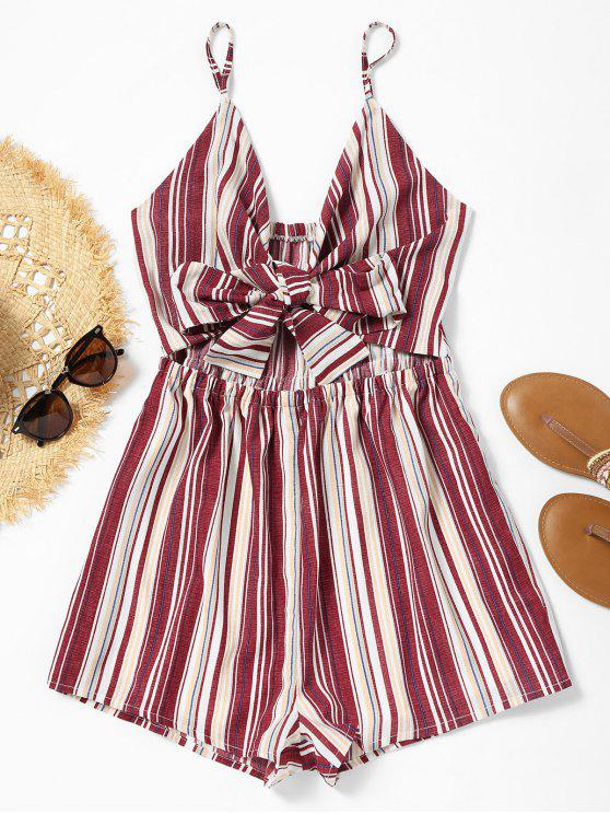 women's Cami Cut Out Bowknot Striped Romper - STRIPE L