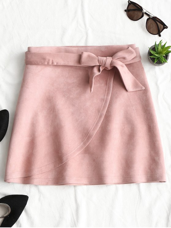 Tiered Bowknot Faux Suede Mini Skirt - Rosa L