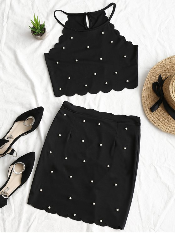 fashion Faux Pearls Scalloped Top and Bodycon Skirt Set - BLACK M