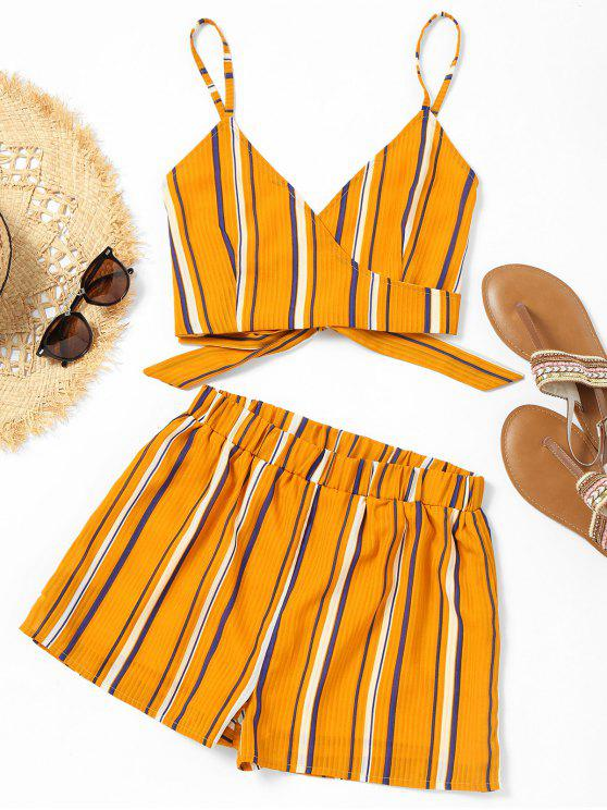 online Striped Wrap Cami Top with Shorts - YELLOW M