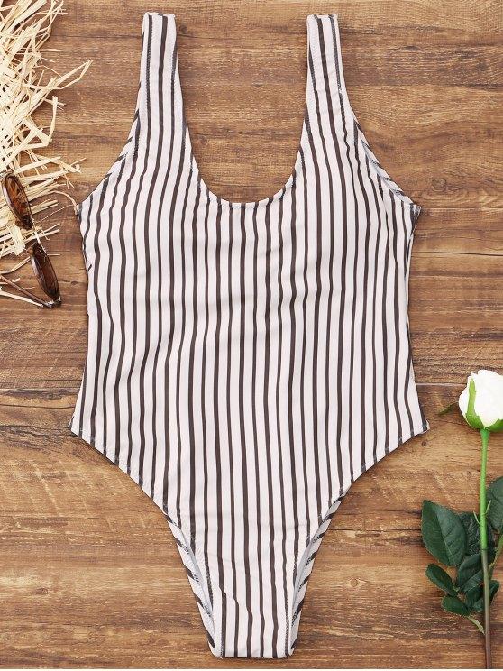 ef1d5639f74 12% OFF] 2019 High Cut Lace Up Striped Swimwear In WHITE | ZAFUL