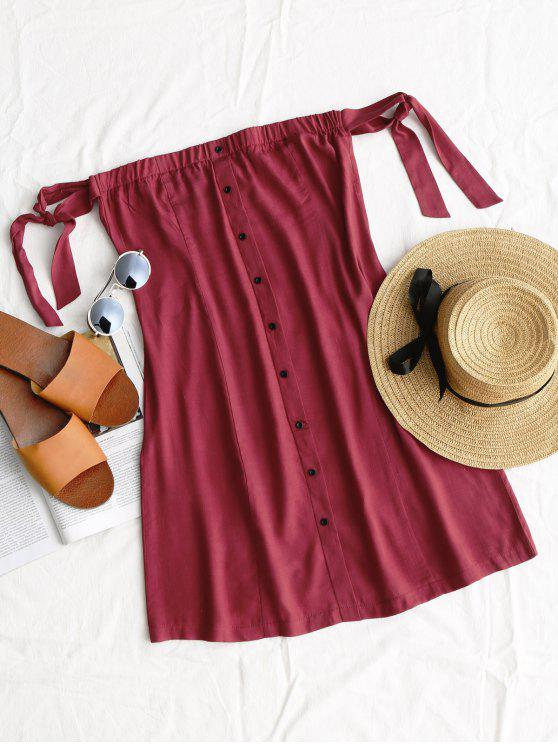 latest Tied Button Up Mini Dress - WINE RED S