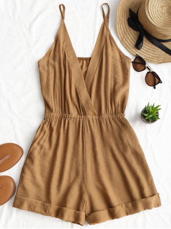 trendy Rolled Up Hem Cross Front Romper - BROWN M
