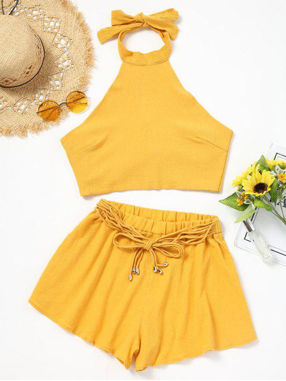 chic Halter Backless Crop Top and Shorts Set - YELLOW S