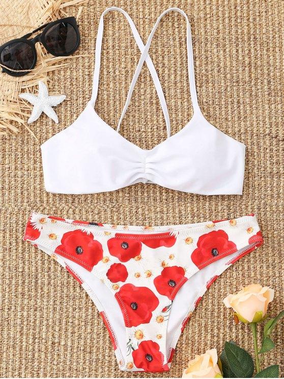 women Floral Lace-up Bikini Set - WHITE S