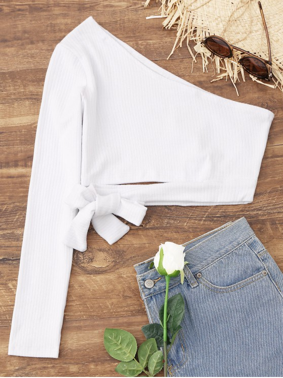 fancy Tied One Shoulder Crop Top - WHITE S