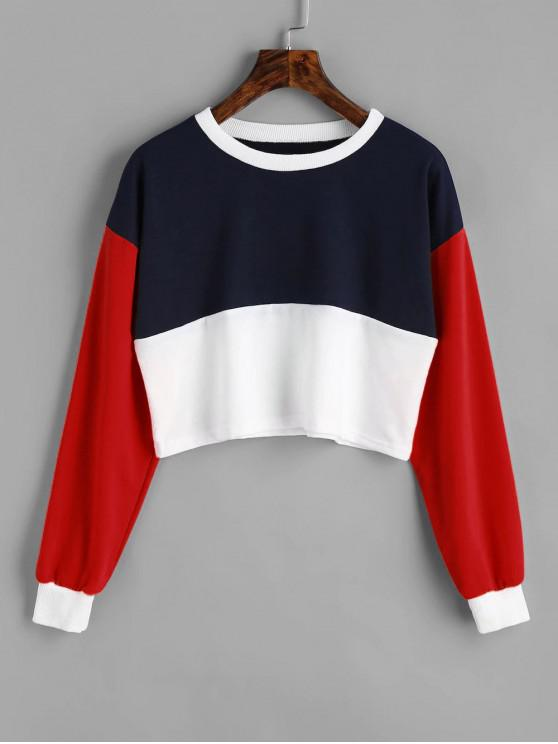 buy Contrast Crop Sweatshirt - MULTI M