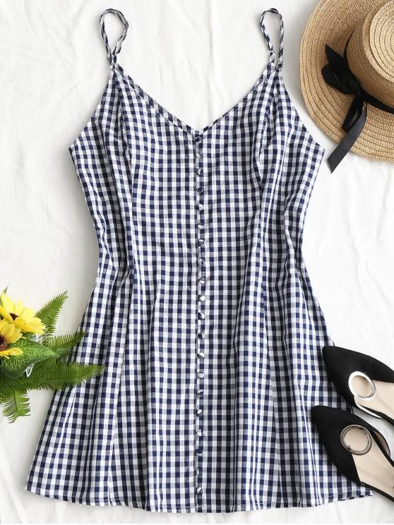 fancy Button Up Plaid Mini Dress - PURPLISH BLUE S