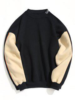 Fleece Lining Color Block Pullover Sweatshirt - Cadetblue L
