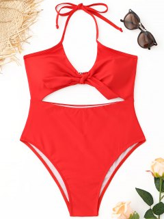 Halter Cutout High Cut Swimsuit - Red L
