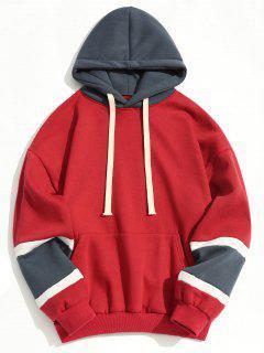 Color Block Fleece Lining Hoodie - Red 2xl