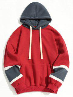Color Block Fleece Lining Hoodie - Red M