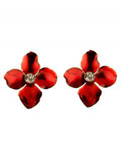 Valentine's Day Petal Faux Crystal Stud Earrings - Red
