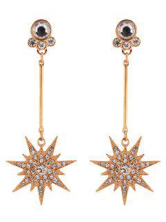 Faux Diamond Layered Five Star Design Drop Earrings - Golden