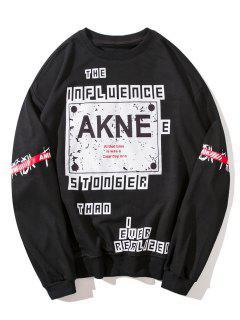 Patch Design Graphic Sweatshirt - Black M