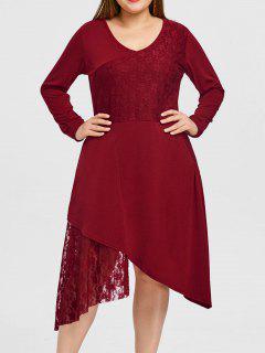 Robe De Soirée De Noël Asymétrique Ourlet En Dentelle Grande Taille  - Rouge 3xl