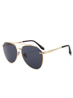 Anti UV Metal Bar Decoration Pilot Sunglasses - Gold Frame + Black Lens