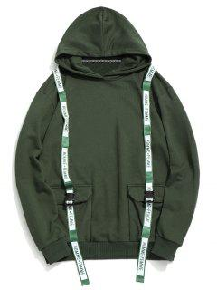 Flap Pockets Ribbons Hoodie - Green M