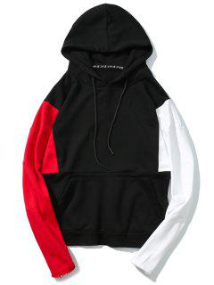 Raw Hem Sleeves Color Block Hoodie - Black M