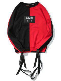 Ribbon Letter Patch Raglan Sleeve Sweatshirt - Red With Black L