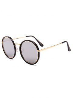 Anti-fatigue Metal Full Frame Round Sunglasses - Reflective White Color