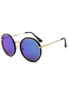 Anti-fatigue Metal Full Frame Round Sunglasses - Blue Green