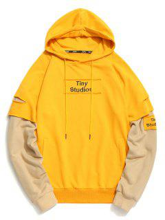 Ripped Underlay Sleeve Patch Design Hoodie - Yellow L