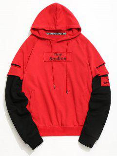Ripped Underlay Sleeve Patch Design Hoodie - Red 2xl